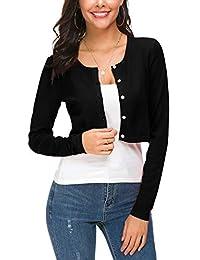 Abrigo de punto para mujer con cuello redondo y botones
