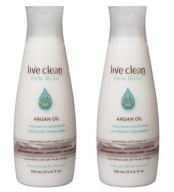 Live Clean Exotic Nectar Argan Oil Restorative Conditioner with 100% Pure Argan Oil, Grape Seed Oil, Castor Oil and Olive Oil, 12 oz each