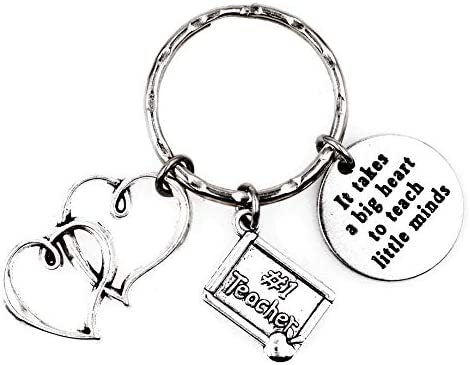 It Takes a Big Heart to Teach Little Minds Double Heart #1 Teacher Keychain 110A