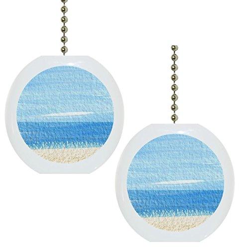 Set-of-2-Beach-Tropical-Ocean-Solid-Ceramic-Fan-Pulls