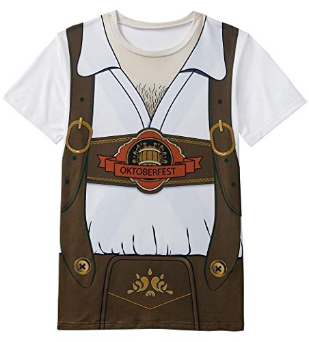 Funny World Men's Bavarian Oktoberfest Costume T-Shirts (M, Brown)]()