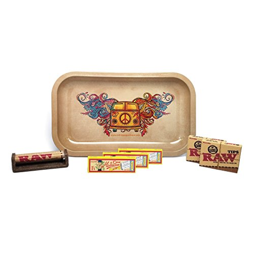 Club Modiano Rolling Papers Bistro (3 Packs), RAW Pre Rolled Tips (2 Packs), 79mm Cigarette Roller, and Rolling Paper Depot Rolling Tray (Hippie Van) - 7 Items - Bundle