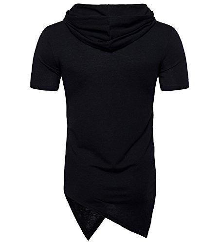 Capuche Manche Slim Hipster T shirt Noir Homme Tee Courte Hip Hop Fit Longue À Shirt 4qvv0w8