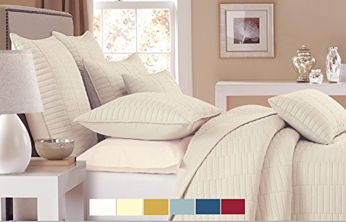 NC Home Fashions Trinity Quilt Set, Full/Queen, Bone (Bone Quilt)