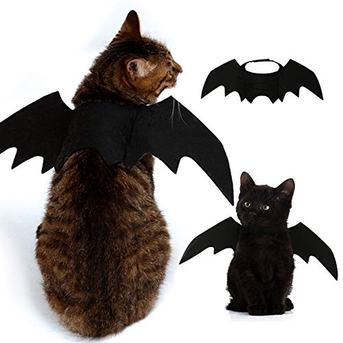 HORHIN Halloween Pet Dog Cat Costume Accessory Bat Wings with Elastic Straps,Pets Wings Black Cool Puppy Kittens,Pet Party Supplies -