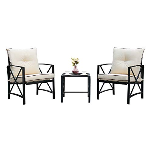 Friday Discount 3 Piece Patio Bistro Set Outdoor Steel Conversation Furniture with Two Thickened Cushion & Glass Coffee Table, Soft Seat Sturdy Metal Frame (Discount Wrought Patio Iron Cushions Furniture)