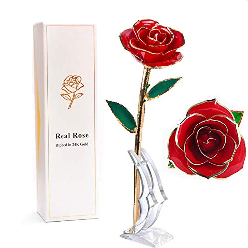 PUTIA Gold Rose Forever Dipped Rose- Long Stem 24k Gold Dipped Real Rose Lasted Forever with Stand, Valentine's Day, Anniversary, Birthday ,Christmas,Mothers Day, Best Gift for her