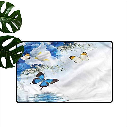 DUCKIL Outdoor Door mat Floral Wild Flowers Butterflies Non-Slip Door mat pad Machine can be Washed W24 xL35