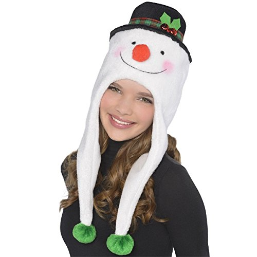 Fun-Filled Christmas and Holiday Party Snowman Laplander , White/Black, Fleece , 22in long x 8in wide, Pack of 1