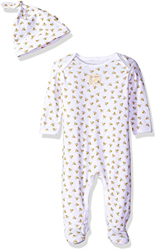 Burt's Bees Baby Unisex Baby Organic One-Piece Romper Coverall and Hat Set, Cloud Honeybee Print, 3-6 Months