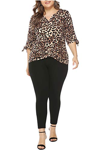 Womens Plus Size Leopard Print Shirt Tops 3/4 Sleeve V Neck Tie Knot Tunics 3XL