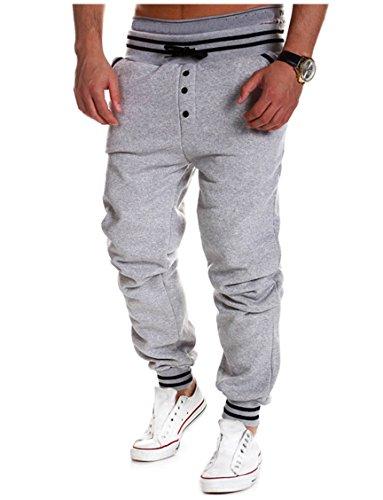 4 Season Pants - MO GOOD Casual Grey Air Permeability Joggers Jogging Harem Long Pants For Men(S, Gray)