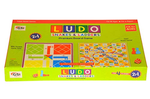 GSI Ludo Snakes And Ladders Kids Board Game With Laminated PVC Board for Fun - Family Friends Entertainment Game  ()