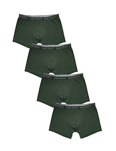 David Archy Men's 4 Pack Ultra Soft and Comfy Underwear Trunks(M,Olive
