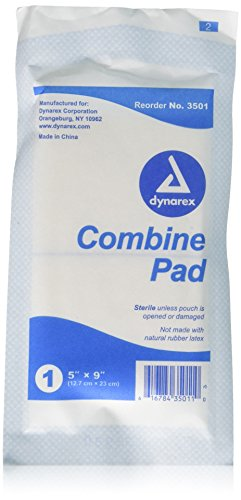 Sterile Combine (ABD) Pads by Dynarex - 5 Inches X 9 Inches - 20 Pads Each - Abd Combine Pad