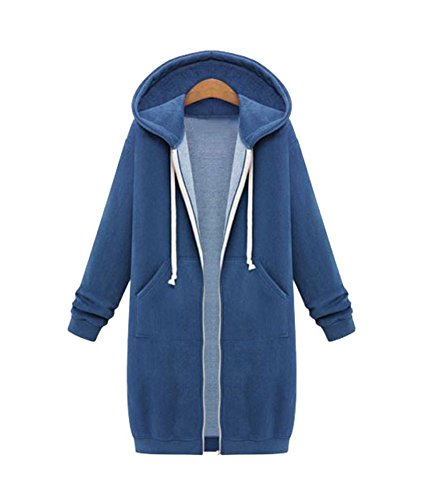 JIANLANPTT Women Long Sleeve Hoodies Cardigan Zip Up Jacket Coat Plus Size Outwear Vintage Blue 3XL=US XL (Quilted Vintage Coat)