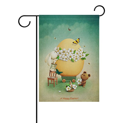 ALAZA Vintage Easter Bear and Bunny Polyester Garden Flag Ho