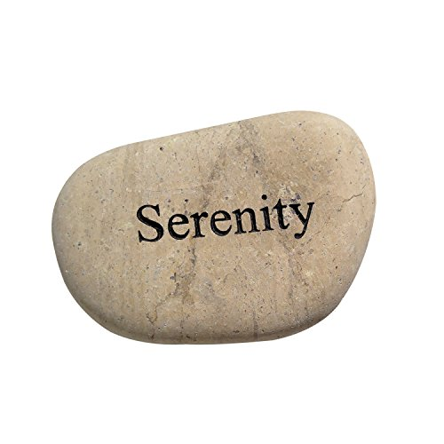Garden Age Supply Serenity Engraved StoneInspirational Sandblast, Perfect Gorgeous Unique Gift Ideas, Natural Beach Pebble Rock (Garden Stone Serenity)