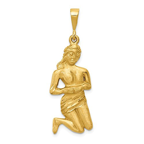 14k Yellow Gold Virgo Zodiac Pendant Charm Necklace Fine Jewelry Gifts For Women For Her ()