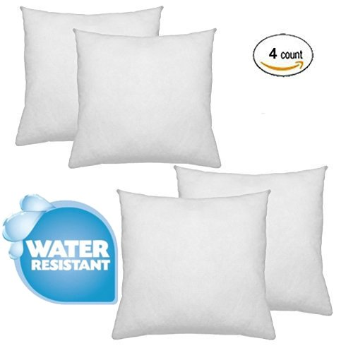 IZO Home Goods Premium Outdoor Anti-mold Water Resistant Hypoallergenic Stuffer Pillow Insert Sham Square Form Polyester, 20'' L X 20'' W (4 Pack), Standard/White by IZO Home Goods