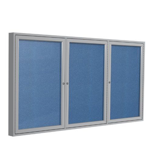 3 Door Outdoor Enclosed Bulletin Board Size: 4' H x 8' W, Frame Finish: Satin, Surface Color: Ocean free shipping