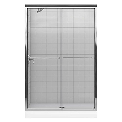 Kohler K-702213-L-SHP Fluence Bypass Shower Door with Crystal Clear Glass, Bright Polished Silver