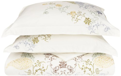 100% Cotton, 3-Piece Full/Queen Single Ply, Soft, Embroidered Hyacinth Duvet Cover Set ()