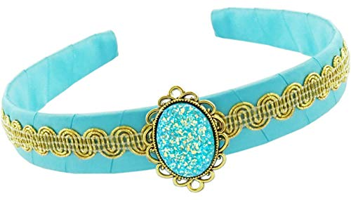 Little Pretends Jasmine Aladdin Costume Accessory Set for Children Girls - Headband Crown and Bracelet Jewelry (Headband) Blue -