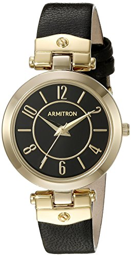 Armitron Women's 75/5338BKGPBK Gold-Tone and Black Leather Strap Watch