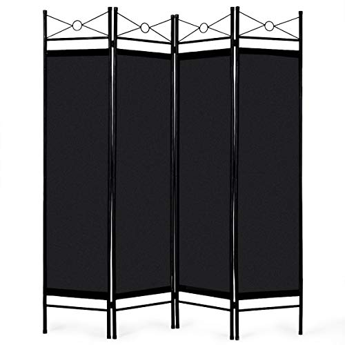 Office Furniture Dividers - Giantex 4 Panel Room Divider Screens Steel Frame & Fabric Surface Freestanding Room Dividers and Folding Privacy Screens Home Office, Black