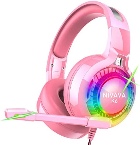 Nivava Gaming Headset for PS4, Xbox One, PC Headphones with Microphone LED Light Mic for Nintendo Switch PS5 Playstation Computer, K6(Pink)