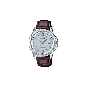 41pZBrDrEiL. SS300  - Casio MTP-VS02L-7A2 Men's Standard Solar Leather Band Grey Dial Date Watch