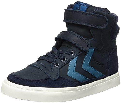 hummel Unisex-Kinder Stadil Oiled High Sneaker JR Hohe Sneakers, Blau (Total Eclipse), 32 EU