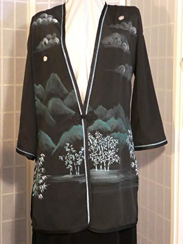 - Hand painted silk jacket duster from Japanese kimono silk
