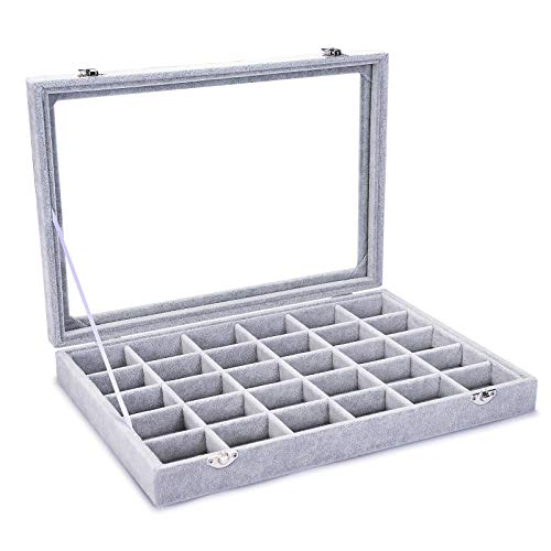 Pasutewel Velvet 30 Grid Jewelry Tray Box Removable Display Case Organizer with Glass Lid