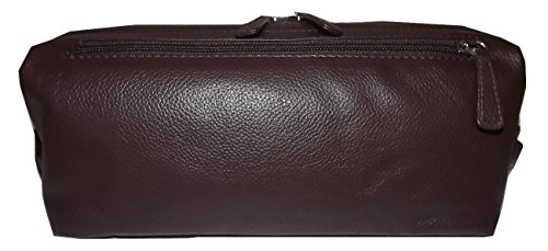 Italia Leather Framed Top Zip Toiletry Travel Shave Kit ()