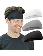 Headbands, 3-Pack T Tersely Yoga Sports Headband, Mens Sweatband, Womens Elastic Athletic Hairband, Lightweight Working Out Mens Headbands