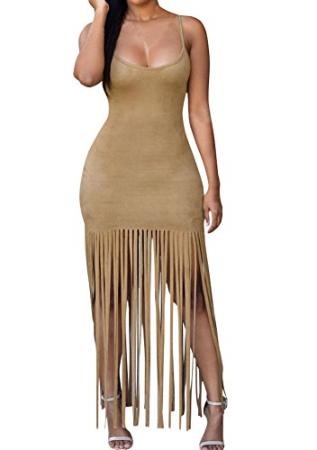 Sexy Womens Warm-weather Faux Suede Fringe Party Club Dress Mocha