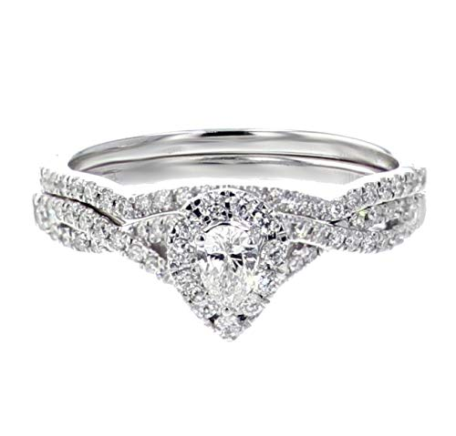- 10K White Gold and Diamond Womens Bridal Rings Set Pear Shaped Solitaire Center 2 Piece Set 1/2ctw