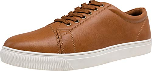 VOSTEY Men's Fashion Sneakers Business Lace up Casual Shoes for Men (13,Yellow Brown)