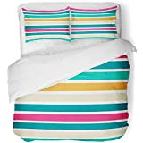 Emvency 3 Piece Duvet Cover Set Breathable Brushed Microfiber Fabric Orange Swatch Stripes Pattern Turquoise Fancy Pastel Abstract Band Consistency Bedding Set with 2 Pillow Covers King Size