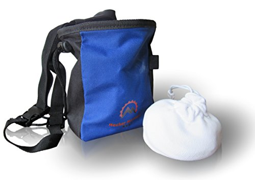Durable Climbing Chalk Bag with Chalk Combo - Large Zippered Pocket, Water Resistant Outer Layer, 2oz Refillable Chalk Ball. Gear Rock Climbing, Bouldering, Weight Lifting, Crossfit, Gymnastics (Blue)