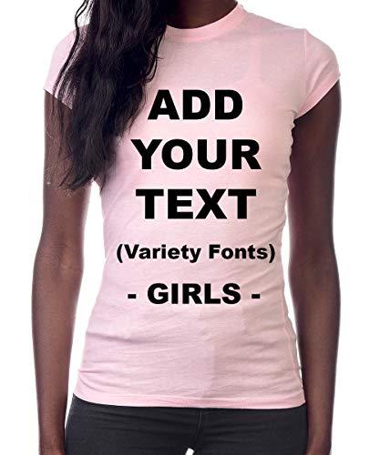 Custom T Shirts Girls Add Your Text Message Ultra Soft Tight Cotton T Shirt [Girls/LightPink/XL] (Best Price Custom T Shirts)
