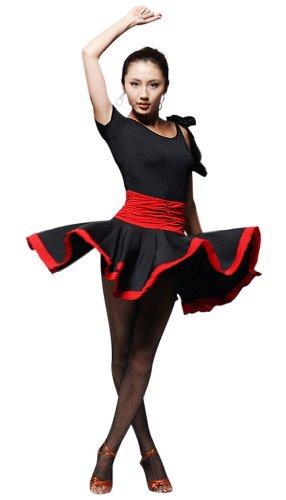 [Faship Womens Dance Dress Black Red Ballroom Latin Tango Rumba Cha Cha Samba,Small,Black] (Chacha Dance Costume)