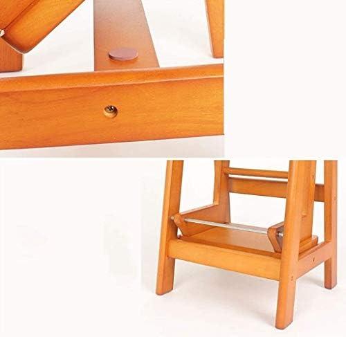 Marche Pied Bois 2-Tier Etape Escalier Tabouret Ladder en Bois Massif Cuisine Ladder Tabouret Pliant Multifonction Etagère Pliable de Chaise Ladder Tabourets de Salle de Bain