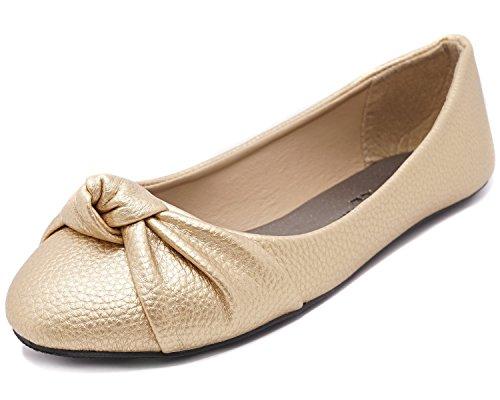Charles Albert Women's Knotted Loafer Metallic Ballet Flats (9, Gold) (Ballet Metallic Flats Leather)