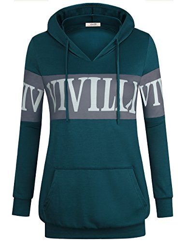 Sweater Hooded Comfy (Vivilli Women's Pullover Sweatshirts, Ladies Raglan Long Sleeve Sweaters Hoodie For Women Letter Print Sweatshirts Tunic With Pocket Dark Cyan,XL)