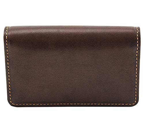 CUSTOM PERSONALIZED INITIALS ENGRAVING Tony Perotti Unisex Italian Cow Leather Front Pocket Business and Credit Card Case Wallet in Brown