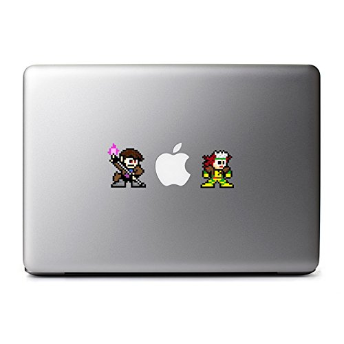 Retro 8-Bit Gambit and Rogue Decals from X-Men for MacBook, iPhone 5S, Samsung Galaxy S3 S4, Nexus, HTC One, Nokia Lumia, -