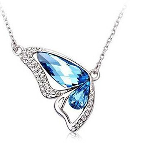 Crystal Girl Butterfly (Hosaire Pendant Necklace Women's Crystal Chain Necklace with Butterfly Pendant Necklace Chainbone Chain Delicate Dress Accessories Blue)